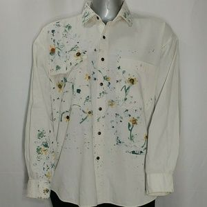 American Blue Paint Splatter Cotton Button Shirt,